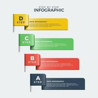 Metallic Colored Step by Step Infographic vector