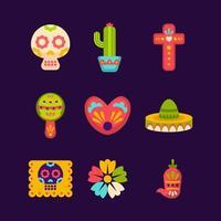 Dia de Los Muertos Instruments Icons vector