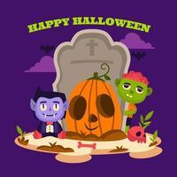 Group of Cartoon Monsters Hangout at Local Graveyard vector