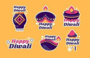 Happy Diwali Festival Sticker Collection vector