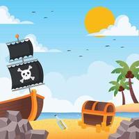 Stranded Pirate Ship Near a Treasure Chest vector