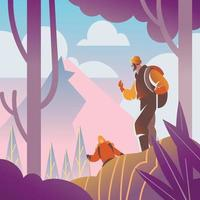 Couple on Hiking Concept vector