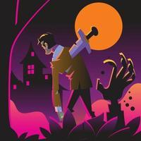Halloween Zombie Walking vector