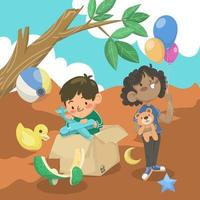 Children Outdoor Activity with Toys vector