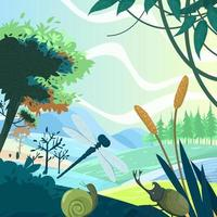 Nature Landscape Scenery with Insects Background vector