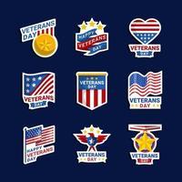 Veteran Day Sticker Collection vector