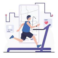 Hombre corriendo en cinta con aplicación virtual vector