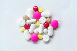 Close up of pills and drug, Pack of tablet drug and capsule pills. photo