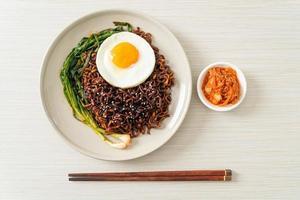 Dried Korean spicy black sauce instant noodles photo