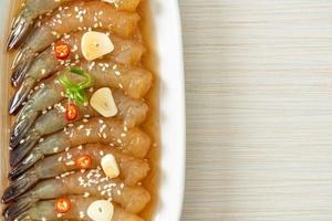 Korean style pickled prawns photo