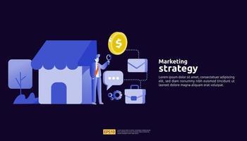affiliate online social media marketing strategy concep illustration. vector