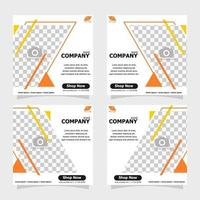 Social media post orange colour concept style one vector