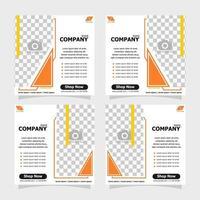 Social media post orange colour concept style three vector
