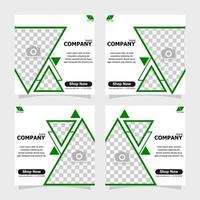 Social media post green colour style four vector