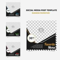 Social media post promotion with dark brown colour style seventeen vector