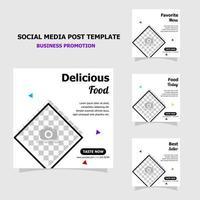 paquete de promoción de redes sociales de plantilla simple estilo ocho vector