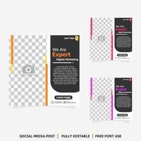 publicación en redes sociales para marketing digital estilo ocho vector