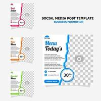 Social media for your food business promotion style seventeen vector