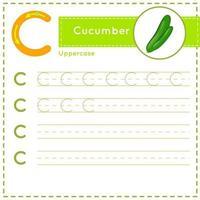 Children alphabet Tracing practice worksheet for kids Letter C vector