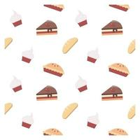 seamless pattern with cupcakes and cakes vector