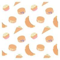 seamless pattern with cupcakes and pancakes vector