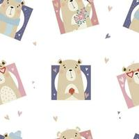 Seamless pattern with cute bears on white background vector