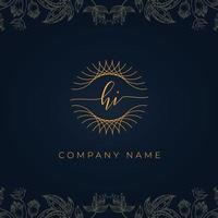 Elegant luxury letter HI logo. vector