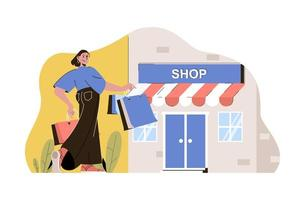 Shopping trip concept for website and mobile site vector