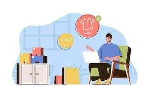 Online shopping concept for website and mobile site vector
