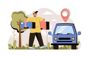 concepto de entrega de pedidos para sitio web y sitio móvil vector