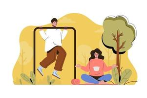 Outdoor training concept for website and mobile site vector