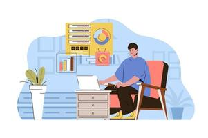 Work from home concept for website and mobile site vector