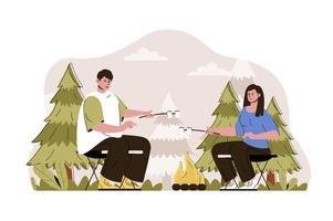 Campfire concept for website and mobile site vector