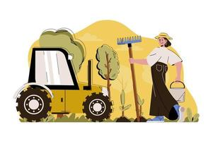 Advanced farming concept for website and mobile site vector
