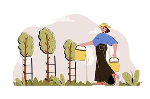 Gardening concept for website and mobile site vector