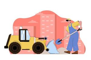 Construction engineering concept for website and mobile site vector