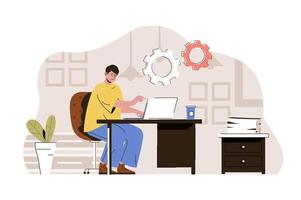 Coworking space concept for website and mobile site vector
