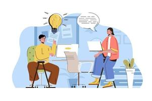 Coworking office concept for website and mobile site vector