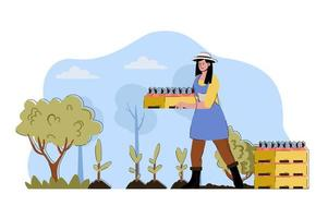 Fruit planting concept for website and mobile site vector
