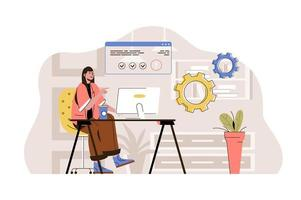 Coworking center concept for website and mobile site vector