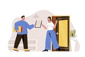 concepto de entrega a domicilio para sitio web y sitio móvil vector