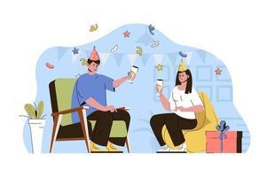 concepto de fiesta de aniversario para sitio web y sitio móvil vector