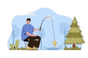 Fishing holiday concept for website and mobile site vector