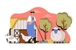 Animal husbandry concept for website and mobile site vector