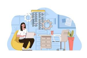 Creative workspace concept for website and mobile site vector