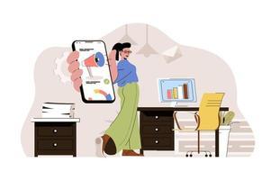 concepto de marketing digital para sitio web y sitio móvil vector
