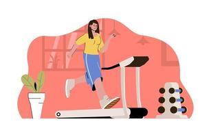 Morning workout concept for website and mobile site vector