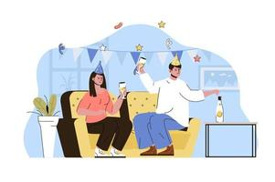 House party concept for website and mobile site vector