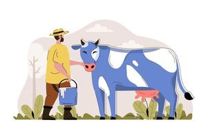 Dairy farming concept for website and mobile site vector