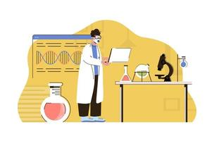 Biological discoveries concept for website and mobile site vector